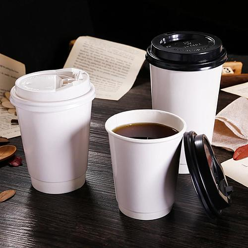 50pcs Disposable Coffee Cups Double-layer Paper Cup with Lid Milk Tea Cup Insulation Takeaway Office Drinking Accessories