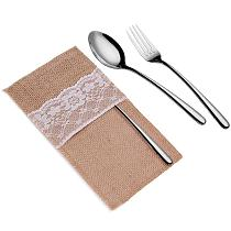 5 Pcs/ Lot Burlap Lace Cutlery Bag Pocket Tableware Fork Knife Pouch Cutlery Holder Home Wedding Party Christmas Decorations