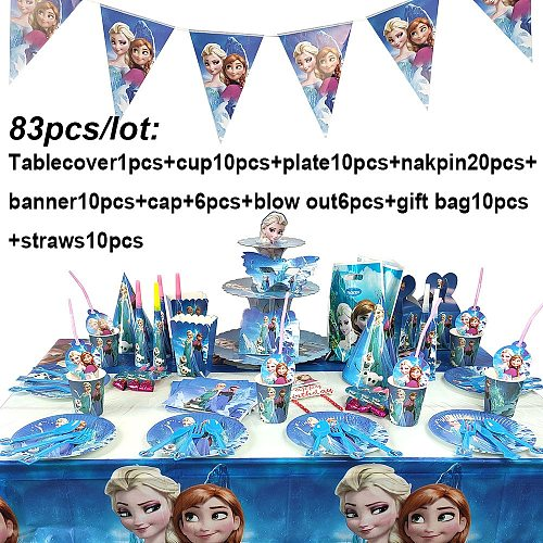 83Pcs Disney Frozen Theme Cup Plate Napkin Kid Birthday Party Decoration Party Event Supplies Favor Items For Kids 10 People use