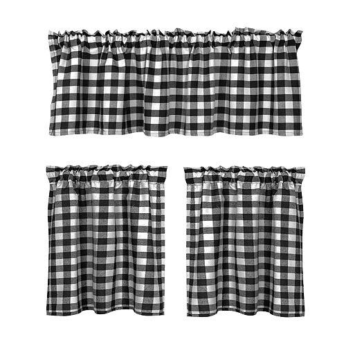 Window Tiers Curtains Valances for Kitchen Semi Sheer Tier Short Lattice, Top Pocket Half Curtain Tier for Kid's Room Bedroom