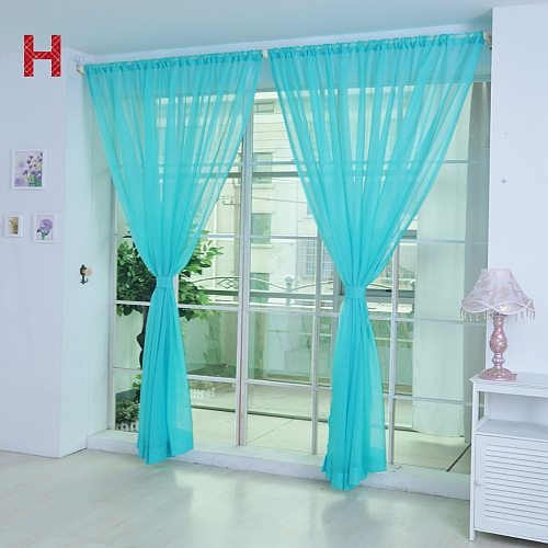 1 PCS Pure Color Tulle Door Window Curtain Drape Panel Sheer Scarf Valances Modern High quality Voile 200cm x 100cm 19OCT11
