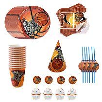 Basketball ThemeDisposable Tableware Supplies Plate Napkin Banner Balloon Decoration Campus Activities Kids Birthday Party Game