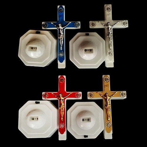 European Style Boutique LED Light Christ Jesus Lcon Cross Home Church Pray Ornaments Church Souvenirs