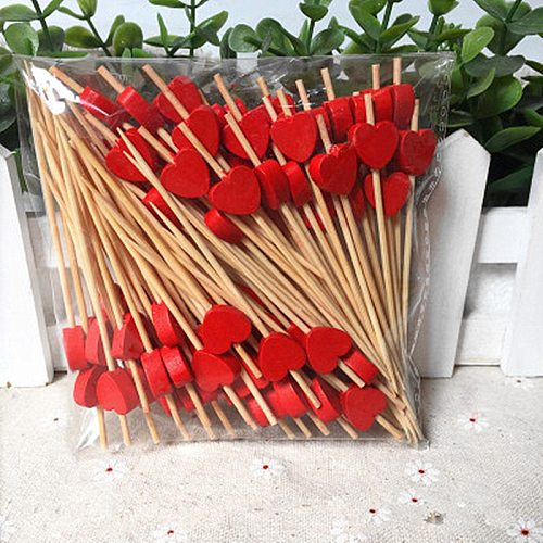 100Ps 9Cm Red peach heart Fruit Fork Sticks Buffet Cupcake Toppers Cocktail Forks Wedding Festival Decorations Birthday party