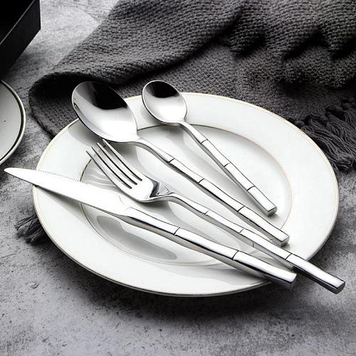 24pcs Cutlery Set Bamboo Style Heavy Handle Cheap Price Stainless Dinnerware Set