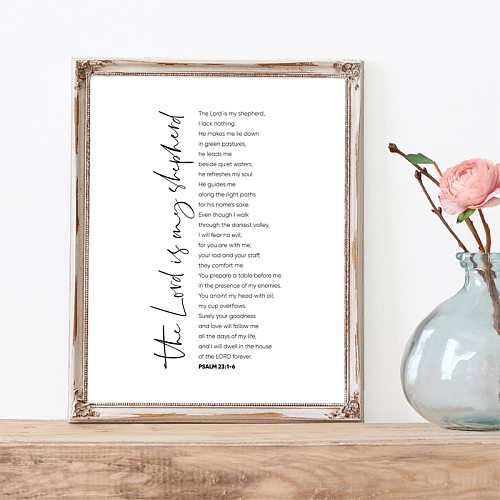 Psalm 23 Scripture Quote Print Bible Verse Christian Wall Art Canvas Painting Religious Poster Wall Picture Home Decor