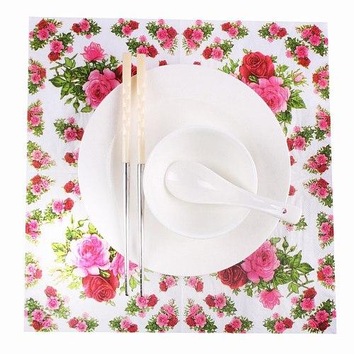 20pcs servilletas decoupage vintage green pink Table napkins paper tissue printed flower rose wedding birthday party decoration