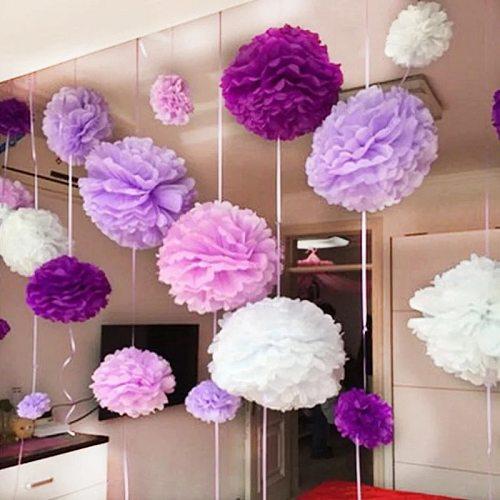 10''25cm Handmade Tissue Paper Pompoms Wedding Decorative Paper Flower Ball Baby Shower Birthday Party Decoration paper pom poms
