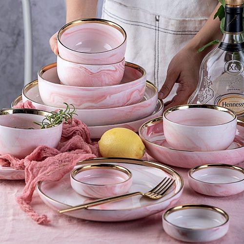 1pc Pink Phnom Penh Marble Ceramic Tableware Bowl Plate Creative Ins Rice Salad Noodles Dish Soup Spoon Dinnerware Sets