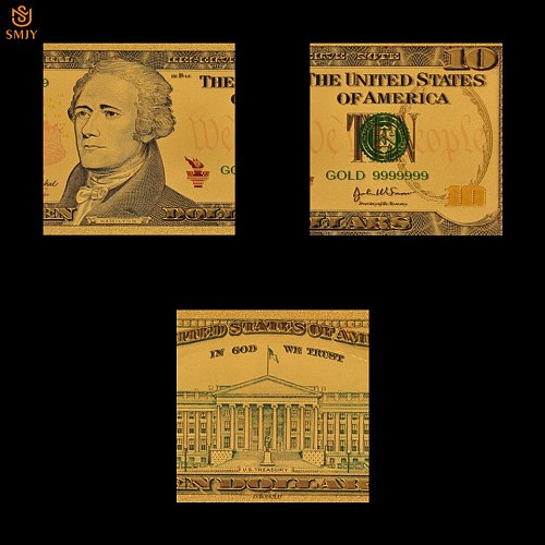 Best Price US Gold Banknotes 10 Dollar Money In 24K Gold Plated Banknotes Fake Money Paper Collection