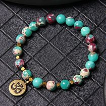 Natural Round Stone Beads Bracelet Turquoises Picture Stones For Women Men Yoga Om Tag Charm Pendant Bracelets Jewelry Male Gift