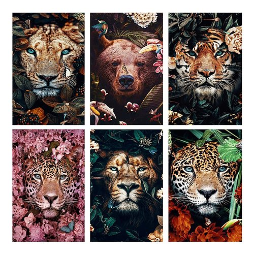LZAIQIZG Full Square Diamond Embroidery DIY Diamond Painting Cross Stitch Drill Tiger Lion Face& Flowers Picture of Rhinestones