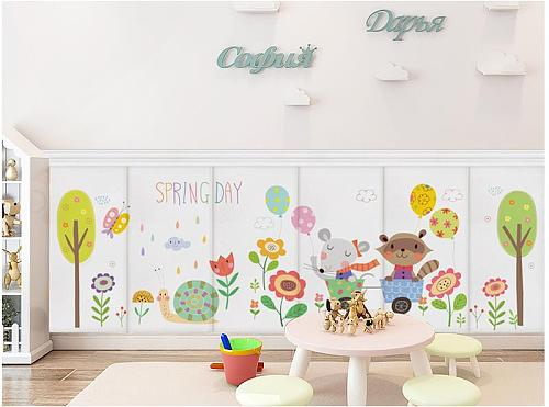 3d three-dimensional wall stickers children's room cartoon bedside soft bag anti-collision decoration self-adhesive wallpaper