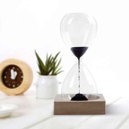 Creative Hourglass Hand-Blown Magnetic Sand Timer Clock Ampulheta Home Decoration Crafts Valentine's Day Present