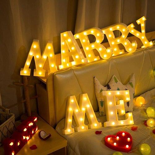 22CM DIY Luminous Lights LED Letter Night Light Creative Letters Alphabet Number Battery Lamp Romantic Wedding Party Decoration