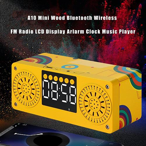 60% Hot Sales!! A10 Mini Wood Bluetooth Wireless FM Radio LCD Display Arlarm Clock Music Player
