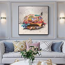 Fast Food Hamburger Graffiti Art Canvas Painting on The Wall Canvas Poster Print Street Wall Art Picture for Living Room Decor