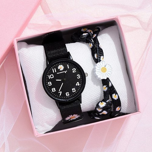2021 Hot Sale Women's Daisy Flowers Nylon Band Watches Ladies Casual Round Analog Quartz Wristwatches Women Watches Clock