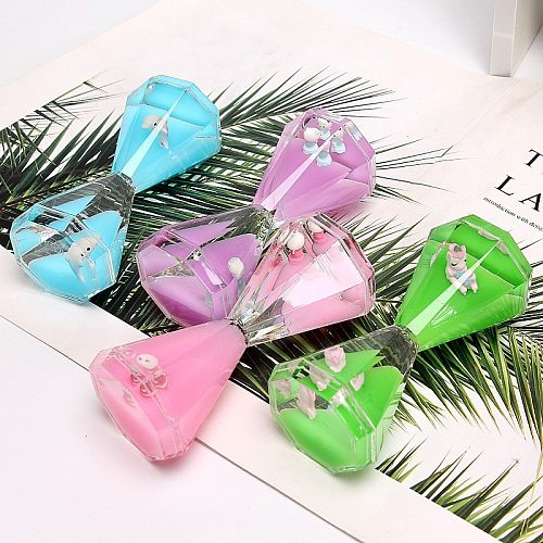 Valentine's Day Double Hourglass Liquid Timer Visual Timer Oil Liquid Motion Hourglass Floating Desk Heart Decoration Acrylic