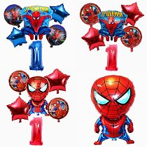6 pcs/set Spider Hero man Foil Helium Balloons 32 Inch Number Boy Party Inflatable Birthday Party Decoration Kids Toy Air Globos
