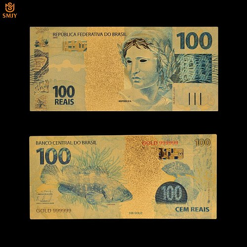 10Pcs lot Gold Plated Banknote Brazil 100 Reais Bank Bill Replica Currency Paper Money Collection And Holiday Gifts