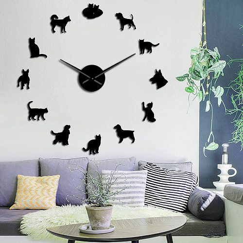 Cute Dog and Cat DIY Giant Wall Clock Home Decor Wall Mute Clock Veterinary Frameless Large Wall Watch Animal Lovers Vet Gifts