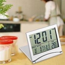 New Digital LCD Display Thermometer Calendar Alarm Clock Foldable Cover Desk Clock