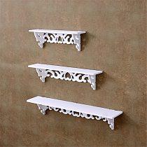 1Set Small +medium+large Size+White  Holder Home Decor Wooden Wall Shelf Display Hanging Rack Storage Goods