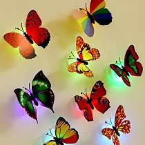 3d Butterfly Wall Sticker Creative Led Lights Multicolor Butterflies Stickers For Party Fridge Bedroom Decoration Wall Art Gifts