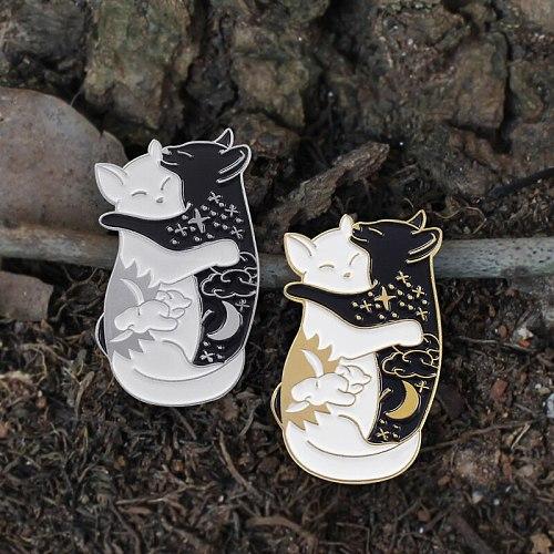Cute day and night hugging cat enamel pin Black White Yin yang Cat pin Galaxy cat  animal badge Couple gift