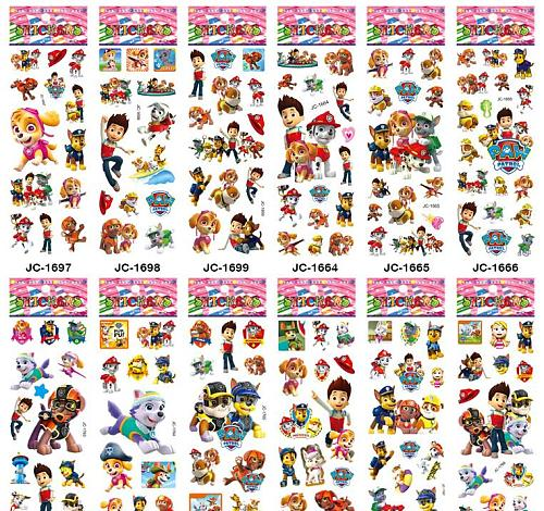 NEW 12 sheets/lot Popular Doggy Paw Patrol anime decals Ryder's Patrols 3d vinyl wall stickers for kids rooms decoration cartoon