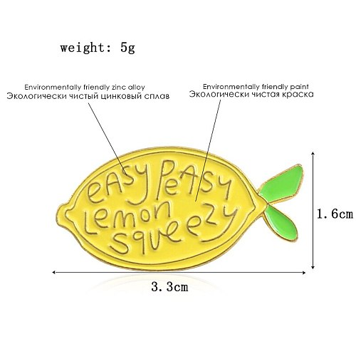 New Cute Yellow Lemon Fruit Brooch 'Easy Peasy Lemon Squeezy' Yellow Lemon Bright Enamel Pins badge  backpack lapel Brooches