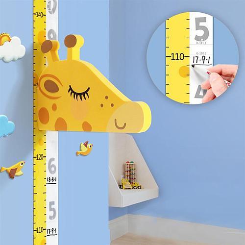 1 Set Cartoon Giraffe Height Chart Sticker Self-adhesive Growth Chart Wall Decal Home Decoration Stickers