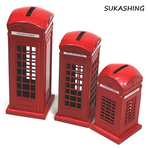 London Telephone Booth Red Die Cast Money Box Piggy Bank UK Souvenir Great Gifts for Kids Home Christmas Decoration