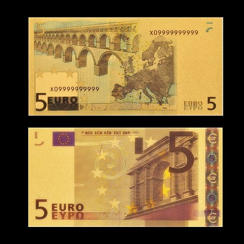 24k Color Gold Banknote European Currency Paper Euro 5 Gold Foil Money Collection With Protective Capsules