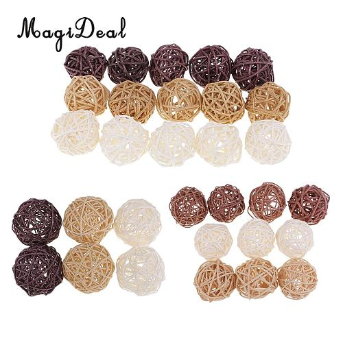 3cm/5cm/7cm Mixed Colors Lovely Wicker Rattan Ball, Christmas Birthday Home Wedding Party Decorations DIY Ornaments Kids Toys