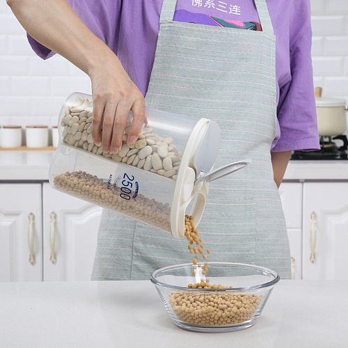 Plastic Food Storage Box Airtight Container With Pour Lids Kitchen Cereals Storage Bottles Rice Beans Jar Dried Grains Tank #t2p