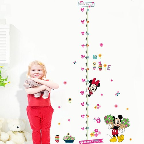 Disney Minnie Mickey 25*70cm Height Measure Wall Stickers For Kids Rooms Home Decor Cartoon  Growth Chart Decals Pvc Mural Art