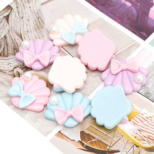 10Pcs Resin Simulation Pearl Shell For Head Rope, Home Decoration, Cake Chocolate Jewelry Use Scrapbook Crafts