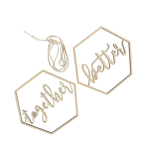 2 Pieces Wooden Better Together Signs Wedding Hanging Signs for Wedding Chairs Decor 1.5m