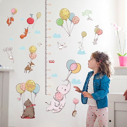 Home Decor Stickers Kids Growth Chart Height Measurement Ruler With Cartoon Patterns Pvc Wall Decor For Kids Room