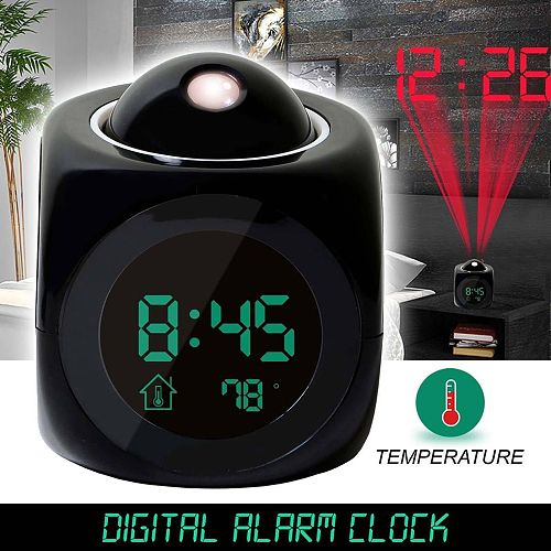 Home Projecting Alarm Clock Large Display Time Date Temperature Projector Digital Colorful Backlight Table Clock 9 * 9 * 10.5cm