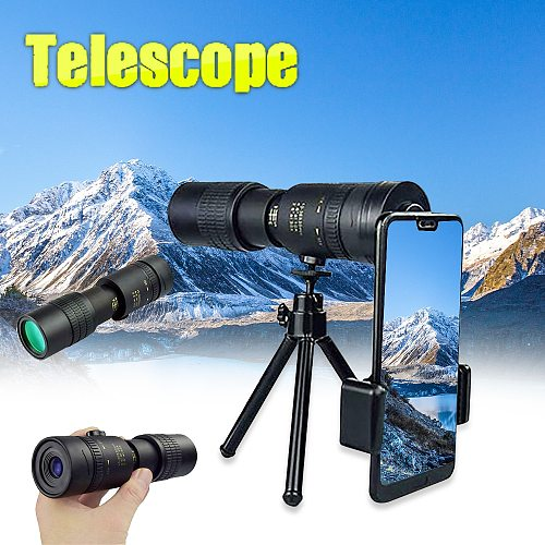 4K 10-300X40mm Super Telephoto Zoom Monocular Telescope with BAK4 Prism Lens for Beach Travel Outdoor Activities Sports