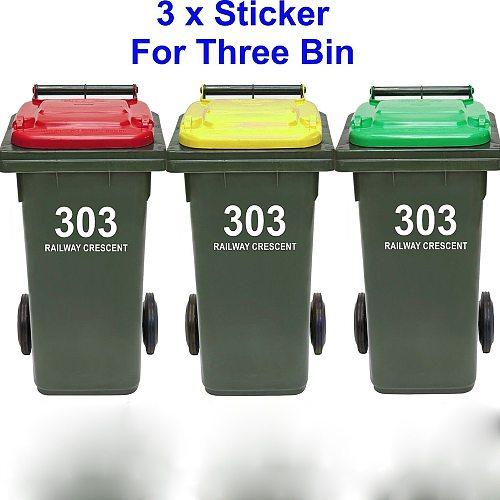 3 PCs Trash Can Rubbish Bin Custom House Number And Street Name Sticker Personalized Garbage wheelie bin Decal Vinyl Decor