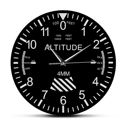 Altimeter Wall Clock Tracking Pilot Air Plane Altitude Measurement Modern Wall Watch Classic Instrument Home Decor Aviation Gift