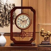 CHINESE TABLE CLOCKS, SOLID WOOD DOUBLE-SIDED CLOCKS, HOUSEHOLD DECORATION, LIVING ROOM PENDULUM CLOCKS, SILENT QUARTZ CLOCKS
