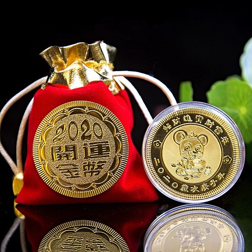 1PC 2020 Year of The Rat Commemorative Coin Chinese Zodiac Souvenir Coin Silver Plated Non-currency Coins for Home Decoration
