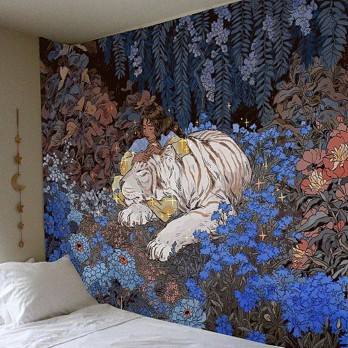Velvet Mandela Tapestry Wall Hanging Mysterious Forest Flower Jungle Animal Moon Ocean Landscape Tapestry for Home Room Decor