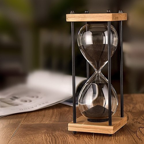 Square Wood Bottom Glass Hourglass 30 Minutes Time Timer Home Ornaments Sandglass Kitchen Hour Meter Blue Sand Clock Children