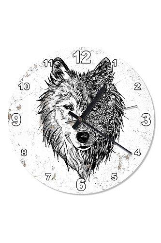 50 Cm Diameter Wolf Pattern Wall Clock Wooden Wall Clock Specialty Clock Home Decoration Gift Wall Clock Classy Stylish Clock